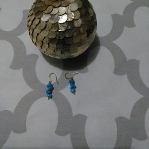 Blue stone drop earrings (new)